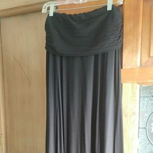 Max Studio Skirts - Black Maxi Long Skirt with Fold Over Yoga Waist